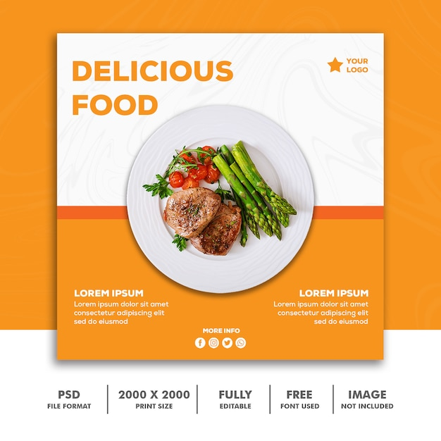 Szablon kwadratowy baner, menu restauracji żywności pomarańczowy Premium Psd