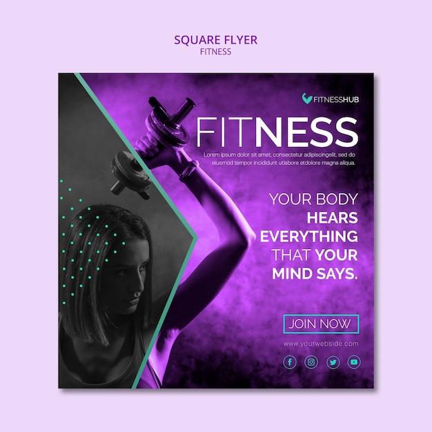 Szablon Kwadratowych Ulotki Fitness Darmowe Psd