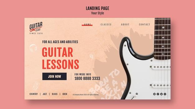 Szablon Lekcji Gry Na Gitarze Strony Docelowej Darmowe Psd