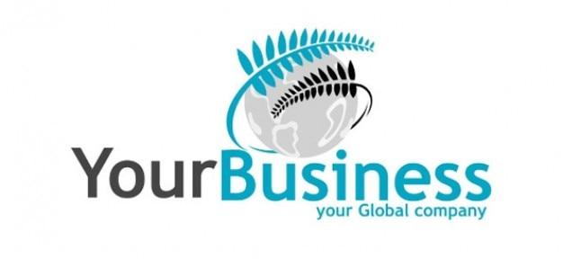 Szablon logo firmy z paproci i ziemi Darmowe Psd