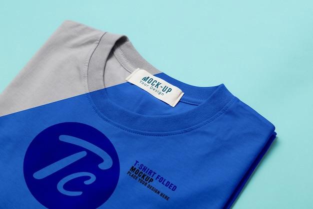 Szablon Makiety Składane Koszulki Do Projektowania Na Niebiesko Premium Psd