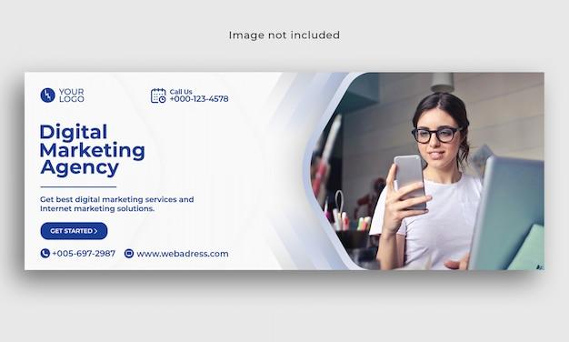 Szablon Marketingu Cyfrowego Okładka Facebook Banner Premium Psd