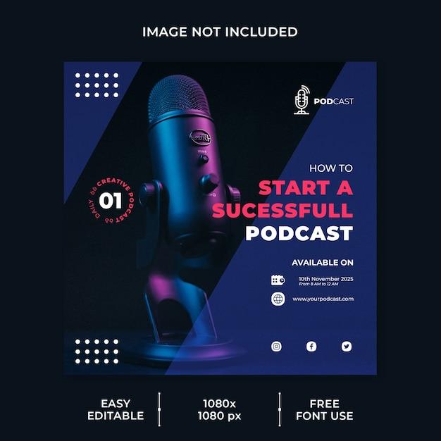 Szablon Mediów Społecznościowych Do Modelowania Podcastów Premium Psd