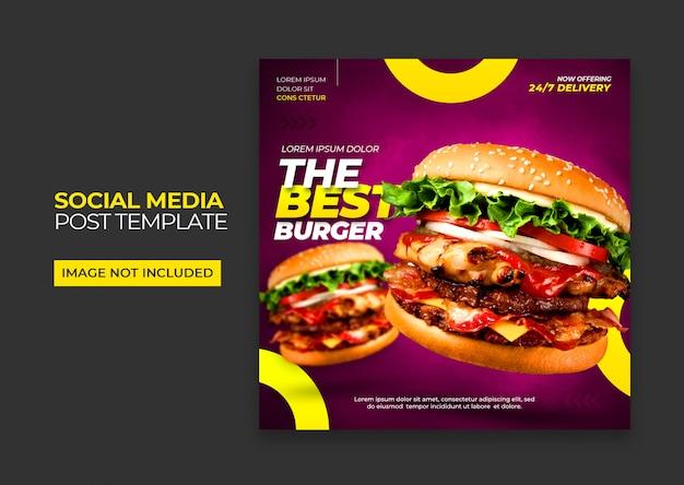 Szablon Mediów Społecznościowych Fast Food Burger Premium Psd Premium Psd