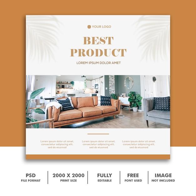 Szablon mediów społecznościowych instagram, gold furniture decoration Premium Psd