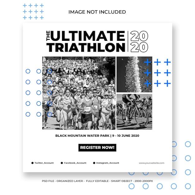 Szablon Mediów Społecznościowych Lub Kwadratowy Baner Na Triathlon Premium Psd