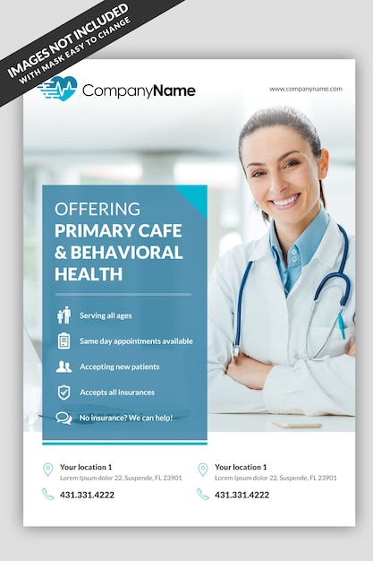 Szablon medyczny ulotki Premium Psd
