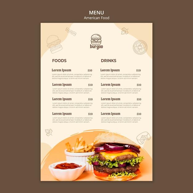 Szablon Menu Amerykańskie Jedzenie Premium Psd
