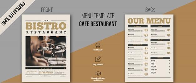 Szablon menu bistro Premium Psd