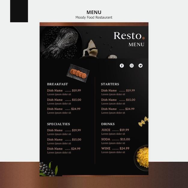 Szablon menu nastrojowe jedzenie Darmowe Psd