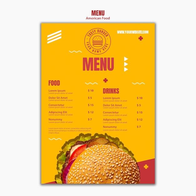 Szablon Menu Smaczne Cheeseburger Amerykańskie Jedzenie Darmowe Psd