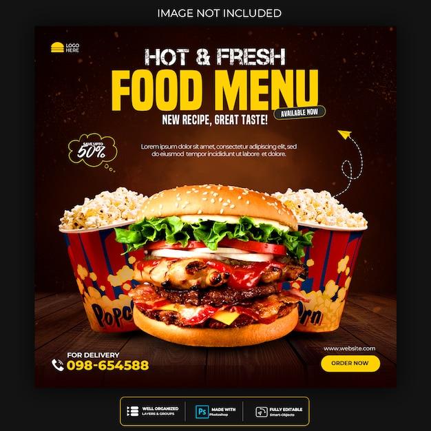 Szablon Menu żywności Dla Postów W Mediach Społecznościowych Premium Psd