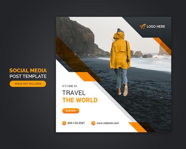 Szablon Ogłoszenia Mediów Społecznościowych Biura Podróży Premium Psd