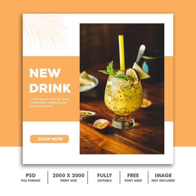 Szablon Ogłoszenia W Mediach Społecznościowych Instagram, Drink Food Orange Elegant Premium Psd