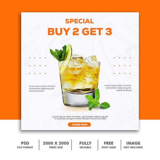 Szablon ogłoszenia w mediach społecznościowych instagram, food elegant luxury drink orange Premium Psd