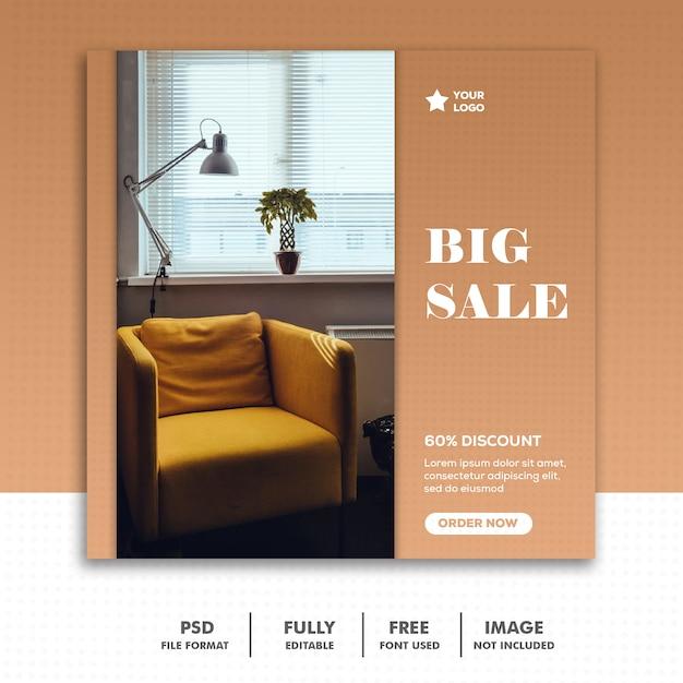 Szablon ogłoszenia w mediach społecznościowych instagram, meble gold luxury elegant best Premium Psd