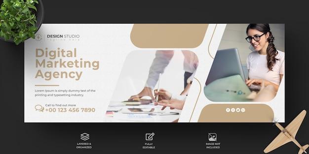 Szablon Okładki Facebook Marketingu Cyfrowego Biznesu Premium Psd