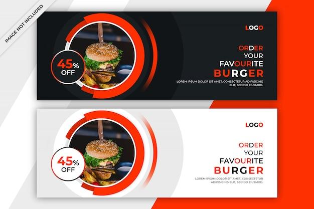 Szablon Okładki Lub Banner Na Facebooku żywności Premium Psd