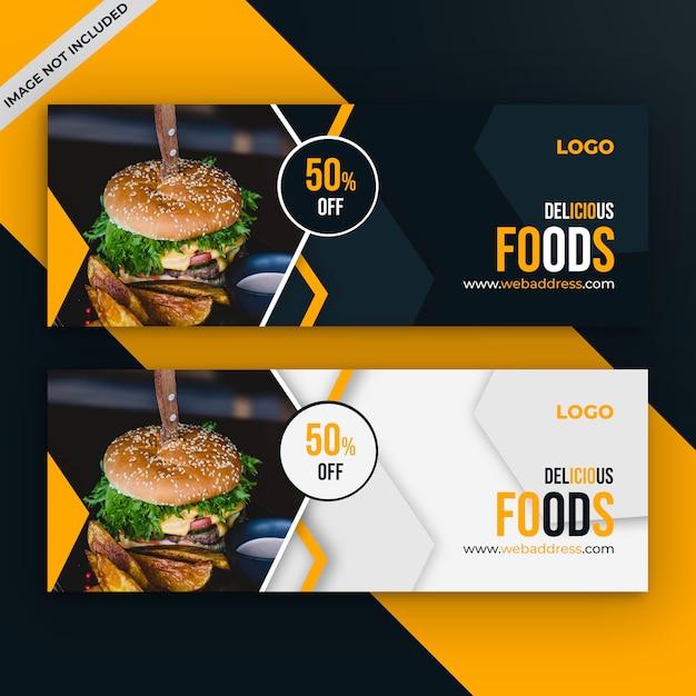 Szablon okładki reklamy sprzedaży żywności na facebooku Premium Psd