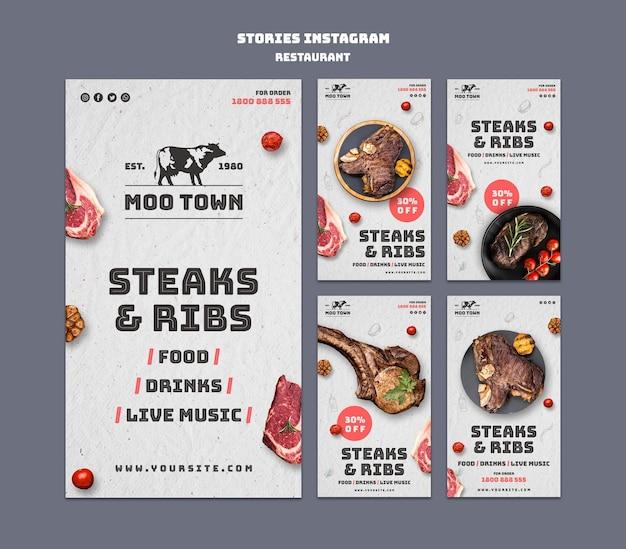 Szablon Opowiadań Instagram Restauracja Stek Darmowe Psd