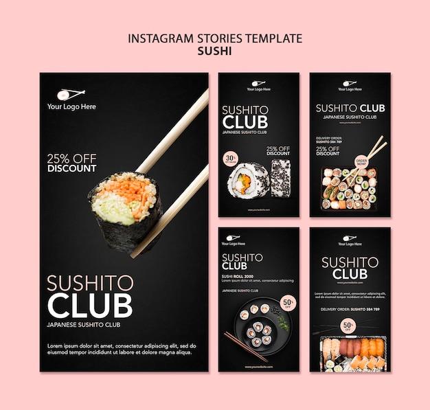 Szablon Opowiadań Instagram Restauracja Sushi Premium Psd