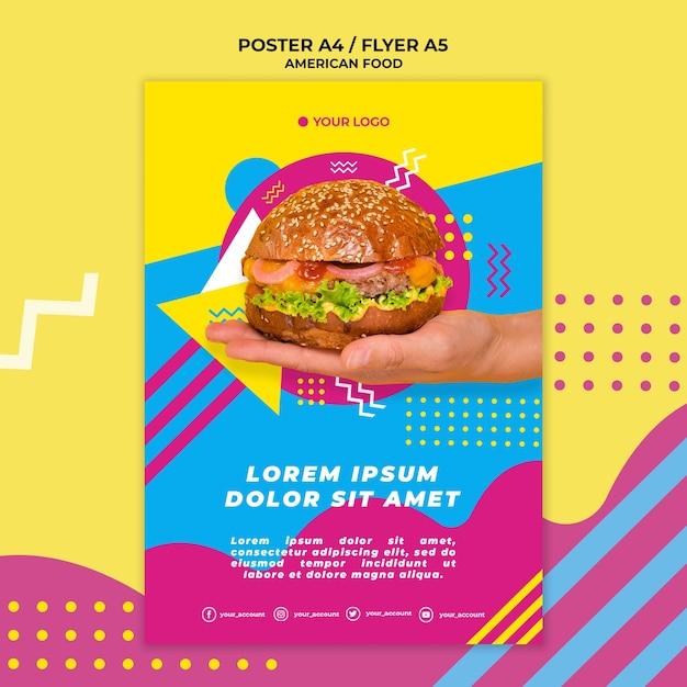 Szablon Plakat Amerykańskie Jedzenie Ze Zdjęciem Darmowe Psd