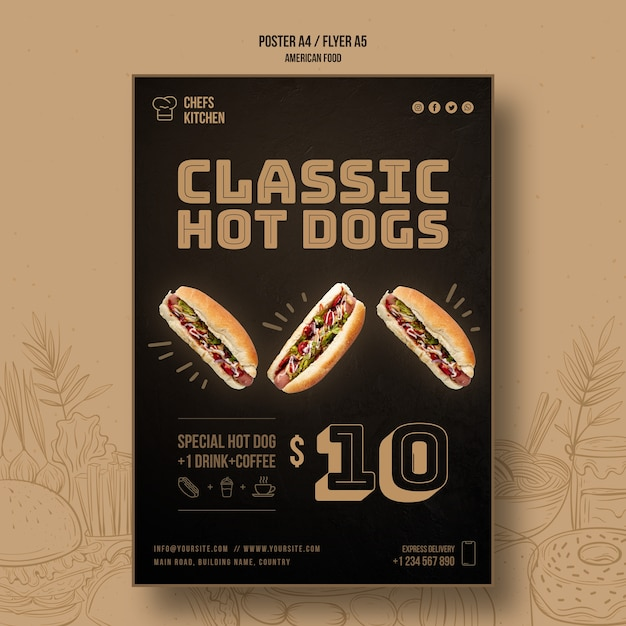 Szablon Plakat Klasyczne Hot Dogi Szefów Kuchni Darmowe Psd