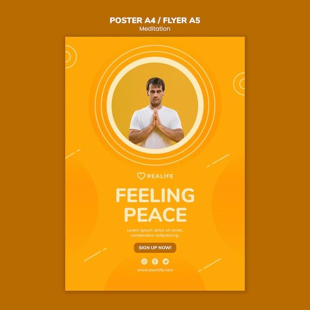 Szablon Plakat Medytacja Uczucie Pokoju Darmowe Psd