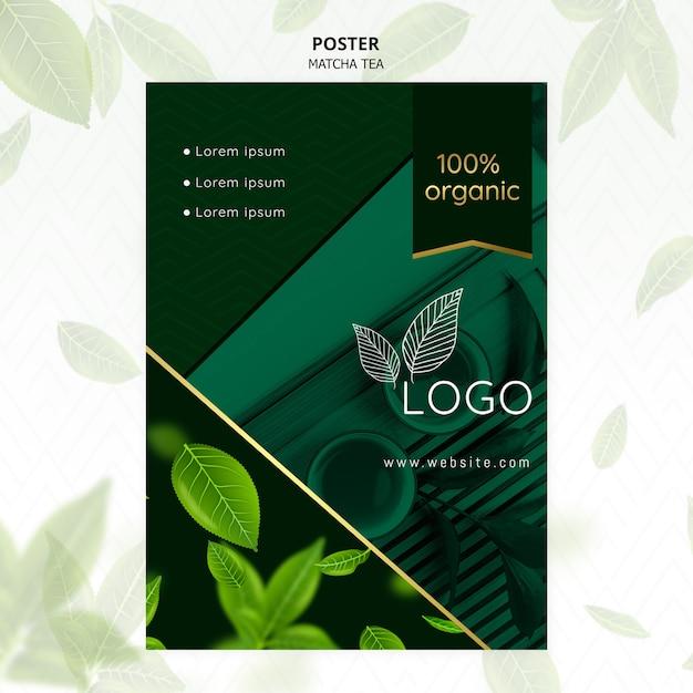 Szablon Plakat Organicznej Herbaty Matcha Darmowe Psd