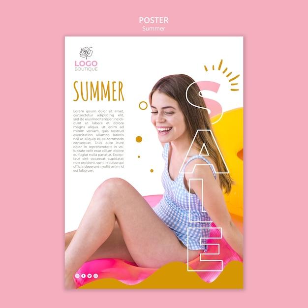 Szablon Plakat Sprzedaż Lato Ze Zdjęciem Dziewczyny Darmowe Psd