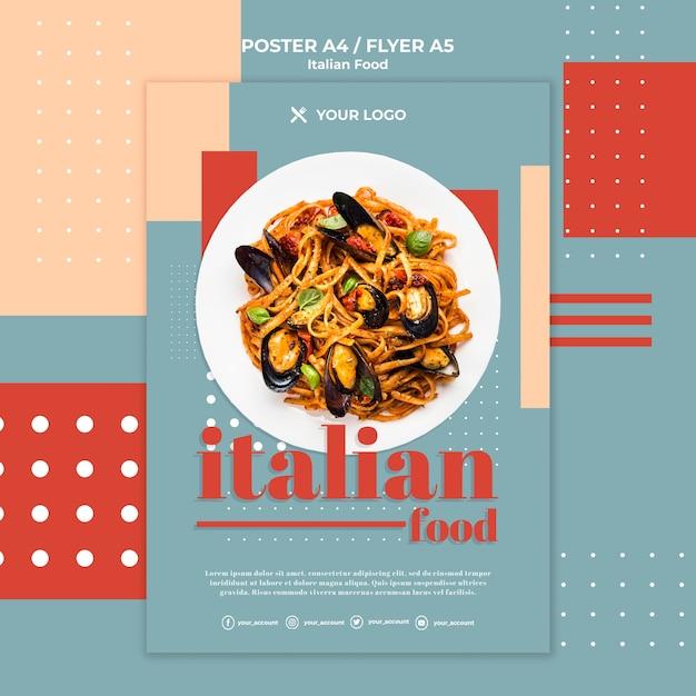 Szablon Plakat Włoskie Jedzenie Darmowe Psd
