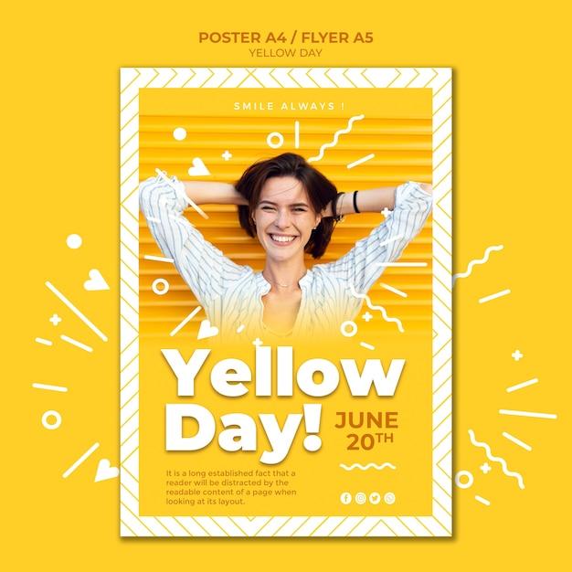 Szablon Plakat żółty Dzień Darmowe Psd