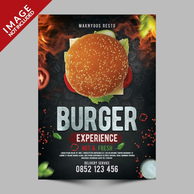 Szablon Plakatu Burger Experience Premium Psd