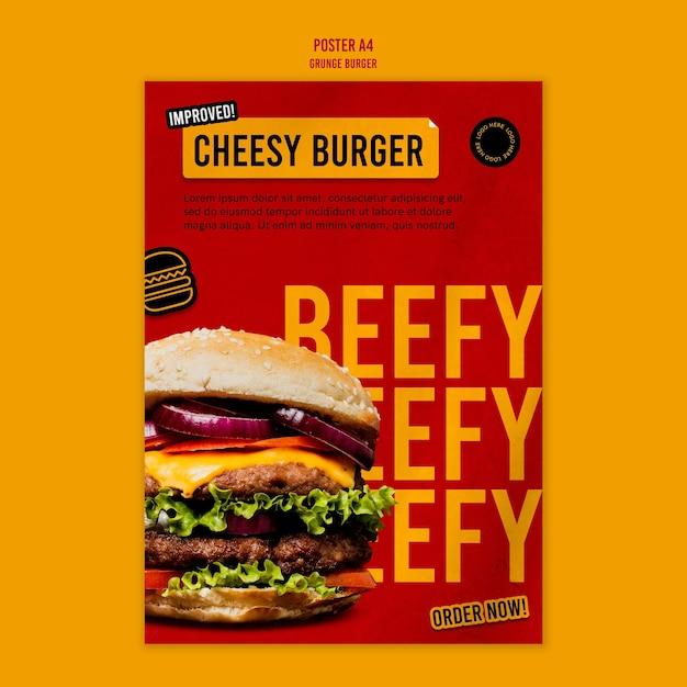 Szablon Plakatu Burger Grunge Darmowe Psd