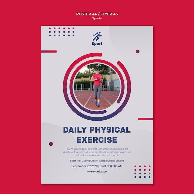 Szablon Plakatu Codziennych ćwiczeń Fizycznych Darmowe Psd