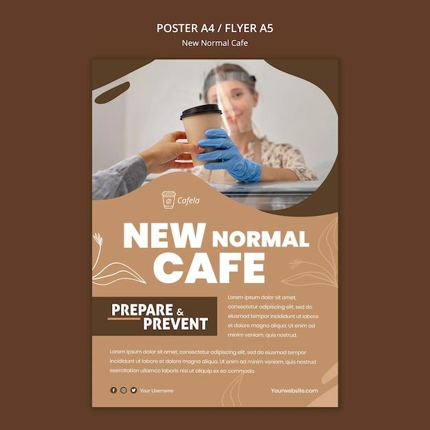 Szablon Plakatu Dla Nowej Normalnej Kawiarni Darmowe Psd