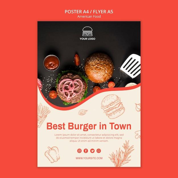 Szablon Plakatu Dla Restauracji Burger Darmowe Psd