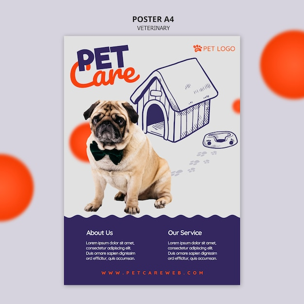 Szablon Plakatu Do Pielęgnacji Zwierząt Domowych Z Psem Noszącym Muszkę Darmowe Psd
