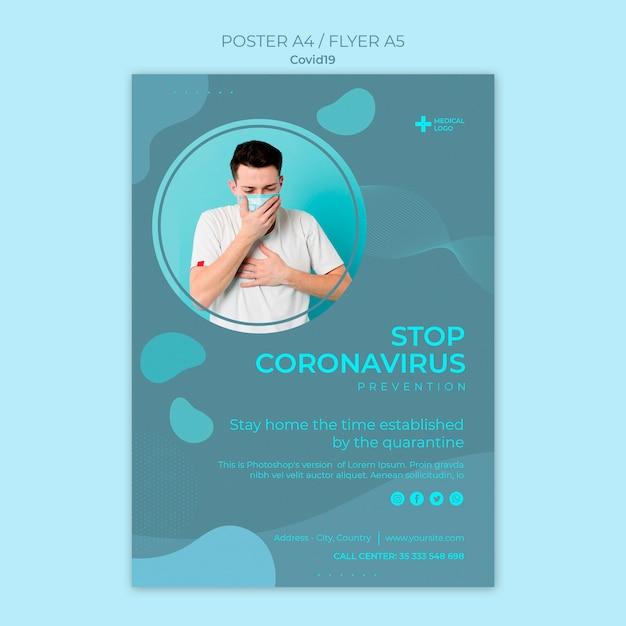 Szablon Plakatu Do Zapobiegania Koronawirusom Darmowe Psd