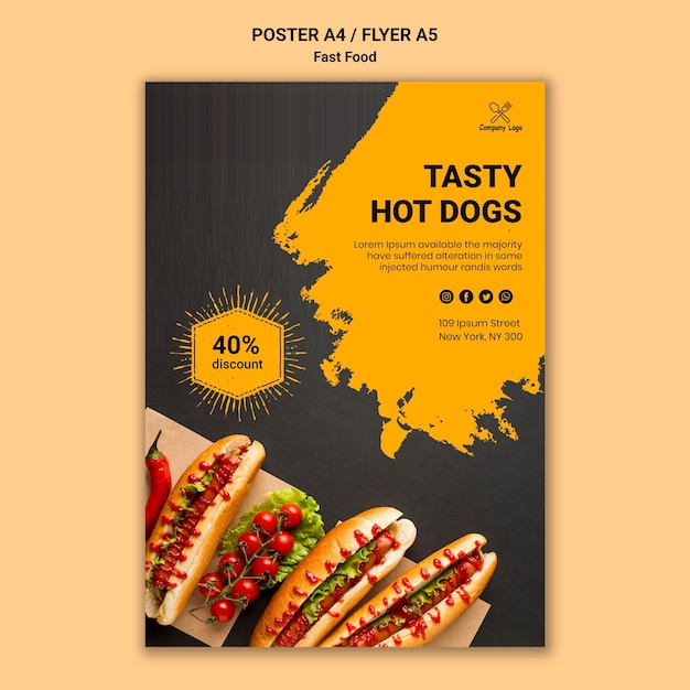 Szablon Plakatu Fast Food Darmowe Psd