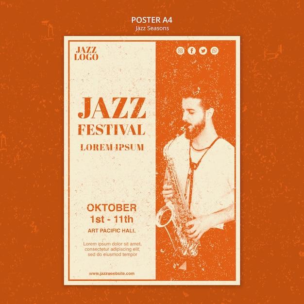 Szablon Plakatu Festiwalu Jazzowego Darmowe Psd