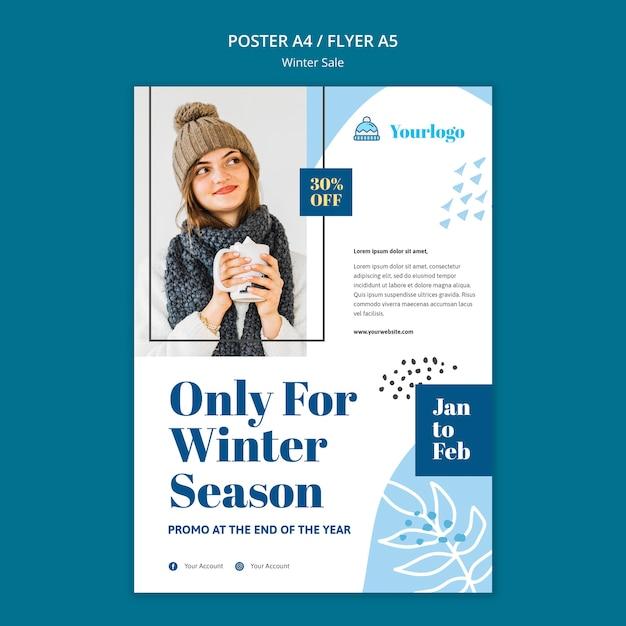 Szablon Plakatu Kolekcji Zimowej Sprzedaży Darmowe Psd