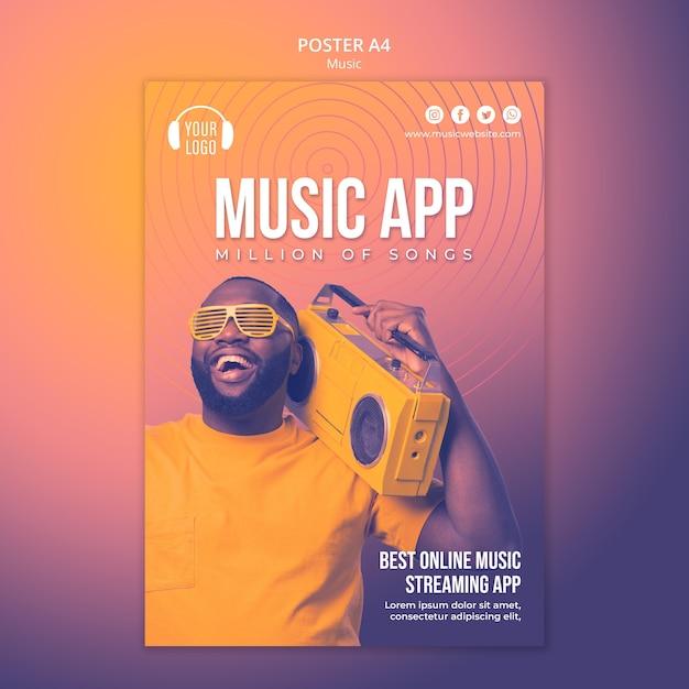 Szablon Plakatu Koncepcja Muzyki Premium Psd