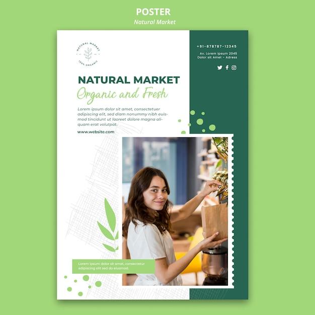 Szablon Plakatu Koncepcja Naturalnego Rynku Darmowe Psd