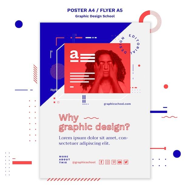 Szablon Plakatu Koncepcja Szkoły Projektowania Graficznego Darmowe Psd