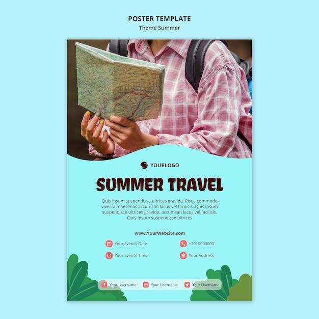Szablon Plakatu Letniej Podróży Darmowe Psd