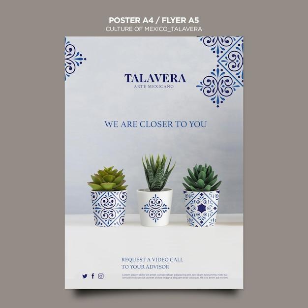Szablon Plakatu Meksykańskiej Kultury Talavera Darmowe Psd
