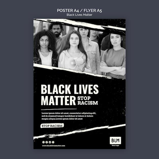 Szablon Plakatu Minimalistyczny Czarny życie Ma Znaczenie Darmowe Psd