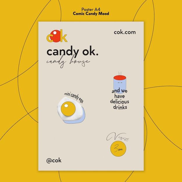 Szablon Plakatu Na Cukierki W Stylu Komiksowym Darmowe Psd
