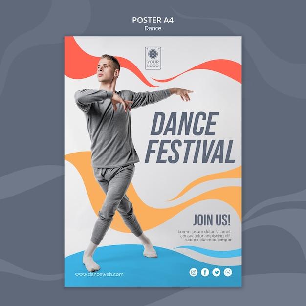 Szablon Plakatu Na Festiwal Tańca Premium Psd